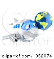 Royalty Free 3d Clip Art Illustration Of A 3d Airplane Character Carrying A Globe 2