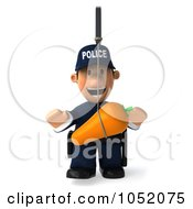 Royalty Free 3d Clip Art Illustration Of A 3d Police Man Chasing A Carrot On A Stick 1
