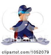 Royalty Free 3d Clip Art Illustration Of A 3d Super Hero Mechanic Surfing On A Giant Wrench