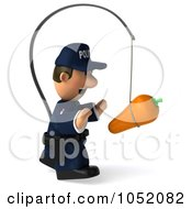 Royalty Free 3d Clip Art Illustration Of A 3d Police Man Chasing A Carrot On A Stick 2