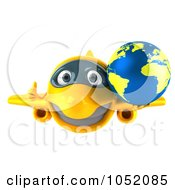 Royalty Free 3d Clip Art Illustration Of A 3d Airplane Character Carrying A Globe 3