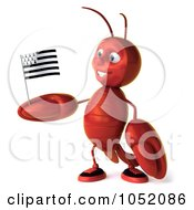 Royalty Free 3d Clip Art Illustration Of A 3d Lobster Facing Left With A Breton Flag