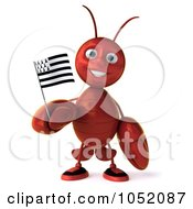 Royalty Free 3d Clip Art Illustration Of A 3d Lobster Facing Front Left With A Breton Flag