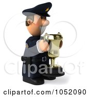 Royalty Free 3d Clip Art Illustration Of A 3d Sheriff Toon Guy Holding A Trophy Cup 3