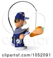 Royalty Free 3d Clip Art Illustration Of A 3d Mechanic Chasing A Carrot On A Stick 1