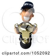Royalty Free 3d Clip Art Illustration Of A 3d Police Man Holding A Trophy Cup
