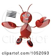 Royalty Free 3d Clip Art Illustration Of A 3d Lobster With A Breton Flag 2