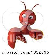 Royalty Free 3d Clip Art Illustration Of A 3d Lobster Holding A Blank Sign Board 1