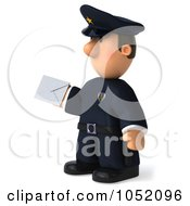 Royalty Free 3d Clip Art Illustration Of A 3d Sheriff Toon Guy Holding An Envelope