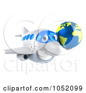 Royalty Free 3d Clip Art Illustration Of A 3d Airplane Character Carrying A Globe 1