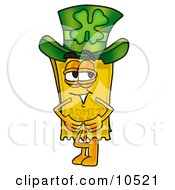 Yellow Admission Ticket Mascot Cartoon Character Wearing A Saint Patricks Day Hat With A Clover On It