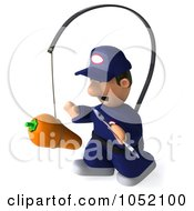 Royalty Free 3d Clip Art Illustration Of A 3d Mechanic Chasing A Carrot On A Stick 2