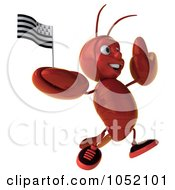 Royalty Free 3d Clip Art Illustration Of A 3d Lobster Jumping With A Breton Flag