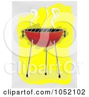 Royalty Free Vector Clip Art Illustration Of A Red Bbq Grill With Smoke Over Yellow And Gray by mheld