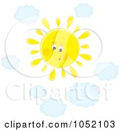 Royalty Free Vector Clip Art Illustration Of A Happy Sun Shining In A Sky With Puffy Blue Clouds by Alex Bannykh