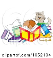 Royalty Free Vector Clip Art Illustration Of A Cat Watching A Boy Reading Tons Of Books by Alex Bannykh