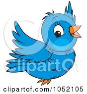 Royalty Free Vector Clip Art Illustration Of A Flying Blue Bird by Alex Bannykh #COLLC1052105-0056