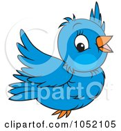 Royalty Free Vector Clip Art Illustration Of A Flying Blue Bird