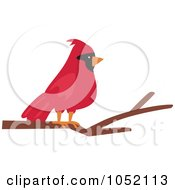 Royalty Free Vector Clip Art Illustration Of A Red Cardinal On A Branch