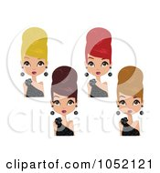 Royalty Free Vector Clip Art Illustration Of A Digital Collage Of Women In Black Dresses Wearing Their Hair Up In Beehives