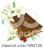 Royalty Free Vector Clip Art Illustration Of White Easter Lilies And A Holy Bible by Pushkin