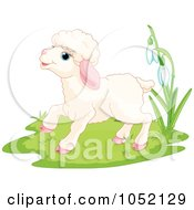 Royalty Free Vector Clip Art Illustration Of A Spring Lamb Near Flowers by Pushkin
