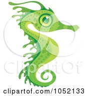 Royalty Free Vector Clip Art Illustration Of An Exotic Green Seahorse by John Schwegel