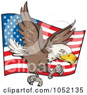 Royalty Free Vector Clip Art Illustration Of A Bald Eagle Flying In Front Of A Waving American Flag by Dennis Holmes Designs
