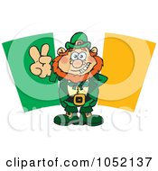 Royalty Free Vector Clip Art Illustration Of A Leprechaun Gesturing A Peace Sign In Front Of An Irish Flag