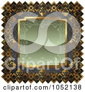 Royalty Free Vector Clip Art Illustration Of An Ornate Olive Green Gray And Gold Frame With Copyspace