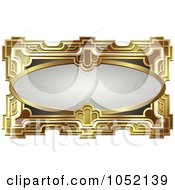 Royalty Free Vector Clip Art Illustration Of An Ornate Gray Oval And Gold Frame With Copyspace