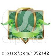 Royalty Free Vector Clip Art Illustration Of An Ornate Green And Gold Banner Shield Frame With Copyspace