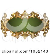Royalty Free Vector Clip Art Illustration Of An Ornate Oval Green And Gold Frame With Copyspace