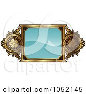 Royalty Free Vector Clip Art Illustration Of An Ornate Turquoise And Gold Frame With Copyspace by AtStockIllustration