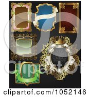 Royalty Free Vector Clip Art Illustration Of A Digital Collage Of Antique And Retro Styled Ornate Frame Designs On Black 2