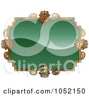 Royalty Free Vector Clip Art Illustration Of An Ornate Green And Gold Frame With Copyspace