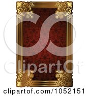Royalty Free Vector Clip Art Illustration Of An Ornate Red Pattern And Gold Frame With Copyspace