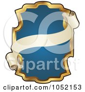 Royalty Free Vector Clip Art Illustration Of An Ornate Blue And Gold Banner Frame With Copyspace