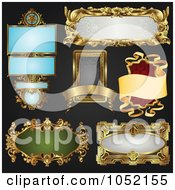 Royalty Free Vector Clip Art Illustration Of A Digital Collage Of Antique And Retro Styled Ornate Frame Designs On Black 3