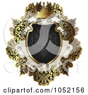 Royalty Free Vector Clip Art Illustration Of An Ornate Black And Gold Scroll Frame With Copyspace