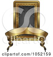Royalty Free Vector Clip Art Illustration Of An Ornate Black And Gold Banner Frame With Copyspace
