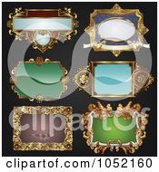 Royalty Free Vector Clip Art Illustration Of A Digital Collage Of Antique And Retro Styled Ornate Frame Designs On Black 1