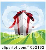 Royalty Free Vector Clip Art Illustration Of A Gigantic Gift Box Towering Over Green Fields