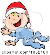 Royalty Free Vector Clip Art Illustration Of A Crawling Cartoon Baby Wearing A Santa Hat And Waving by AtStockIllustration