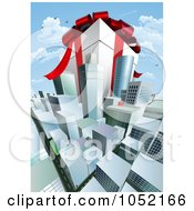 Royalty Free Vector Clip Art Illustration Of A Gigantic Gift Box Towering Above A Cityscape