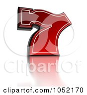 Royalty Free 3d Clip Art Illustration Of A 3d Red Lucky Seven 7