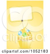 Royalty Free 3d Vector Clip Art Illustration Of A 3d Blank Label On An Easter Cupcake by elaineitalia