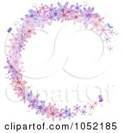 Circular Frame Of Spring Flowers Water Drops And Butterflies