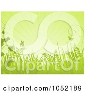 Royalty Free Vector Clip Art Illustration Of A Green Spring Background Of Butterflies Grasses And Rays by elaineitalia
