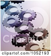 Royalty Free Vector Clip Art Illustration Of A Background Of Glossy Interlinked Gear Cogs by elaineitalia